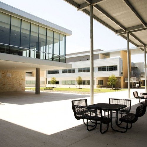 Exterior View of Curtain Wall System | Cedar Ridge High School | Commercial Projects | Anchor-Ventana Glass