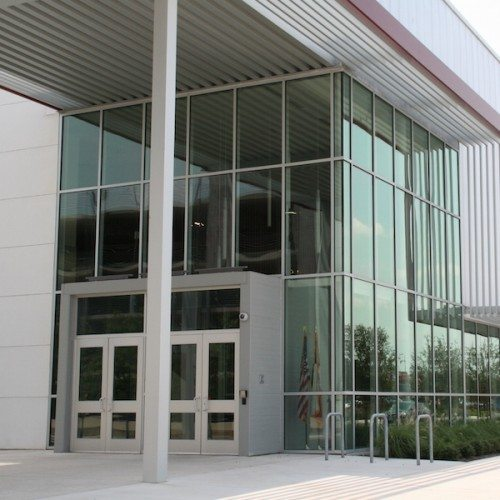 Curtain Wall Exterior Corner View | AISD Performing Arts Center | Commercial Projects | Anchor-Ventana