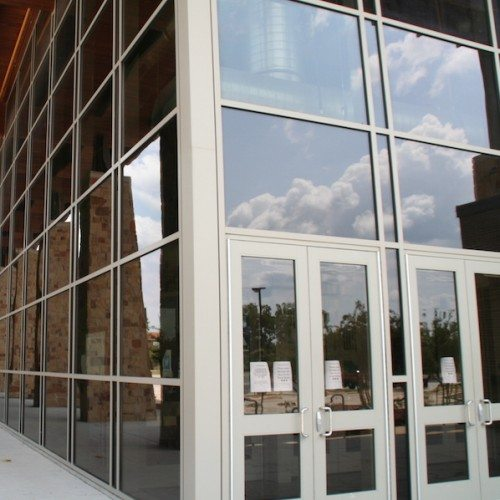 Corner View of Exterior Curtain Wall System & Storefront Entrance | Jerry Fay Wilhelm Center for Performing Arts | Commercial Projects | Anchor-Ventana