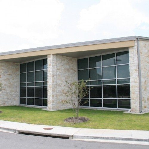 Exterior View of Glass Curtain Wall Systems on Side of Building   Lake Travis Middle School   Commercial Projects   Anchor-Ventana