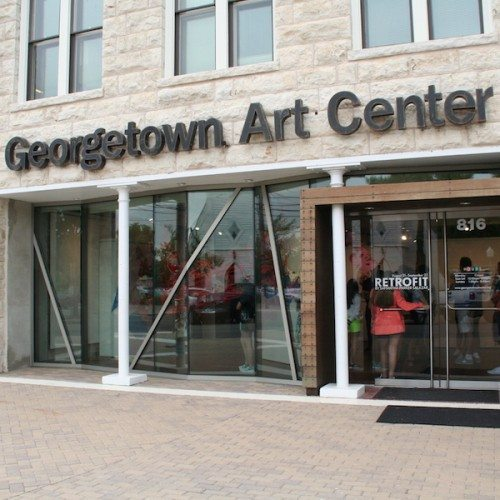 Exterior View of Frameless Glass Doors & Storefront Entrance | Georgetown Art Center | Commercial Projects | Anchor-Ventana