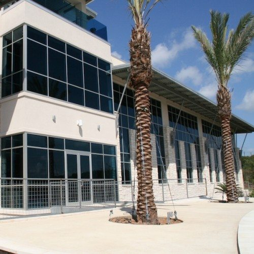 Exterior View of Curtain Wall System on Building & Storefront Entrance Doors | J&J Worldwide | Commercial Projects | Anchor-Ventana