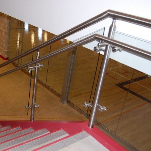 Interior View of Glass Handrails on Staircase | Round Rock Sports Center | Commercial Projects | Anchor-Ventana