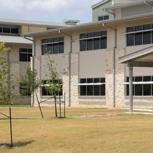 Exterior View of Glass Windows with Sunshades   Lake Travis Middle School   Commercial Projects   Anchor-Ventana