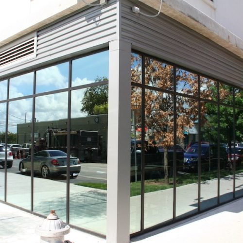 Corner View of Exterior Windows on Lower Level of Building | Corazon Apartments | Commercial Projects | Anchor-Ventana