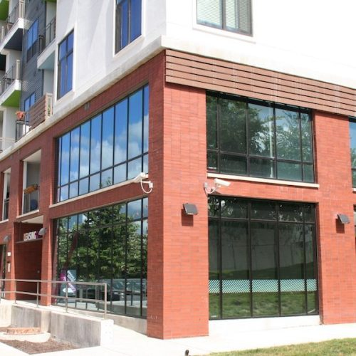 Corner View of Lower Level Exterior Storefront | Corazon Apartments | Commercial Projects | Anchor-Ventana