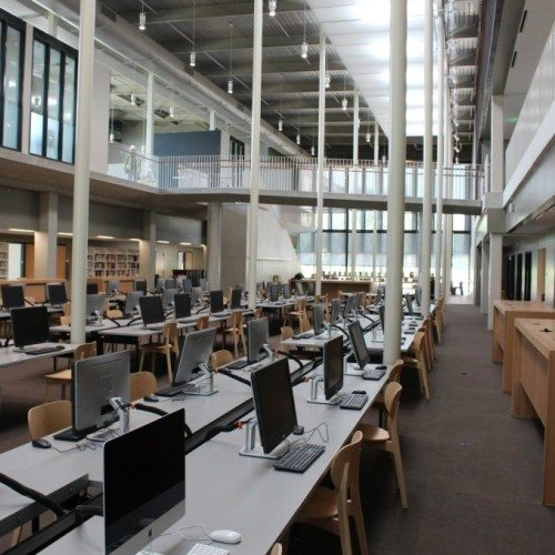 Interior View of Curtain Wall System | Munday Library at St. Edwards University | Commercial | Anchor-Ventana