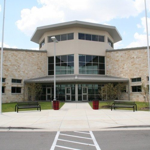 Exterior View of Glass Curtain Wall System & Storefront Entrance   Lake Travis Middle School   Commercial Projects   Anchor-Ventana
