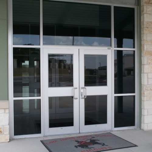Exterior View of Glass Storefront Entrance Doors   Lake Travis Middle School   Commercial Projects   Anchor-Ventana
