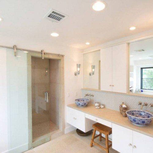 Frameless Dorma Manet Sliding Barn Door at Shower in Bathroom | Sliding Barn Doors | Residential Product Gallery | Anchor-Ventana Glass Company