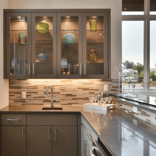 Clear Cabinet Glass and Shelves in Kitchen | Cabinet Glass & Shelves Gallery | Residential Products | Anchor-Ventana Glass