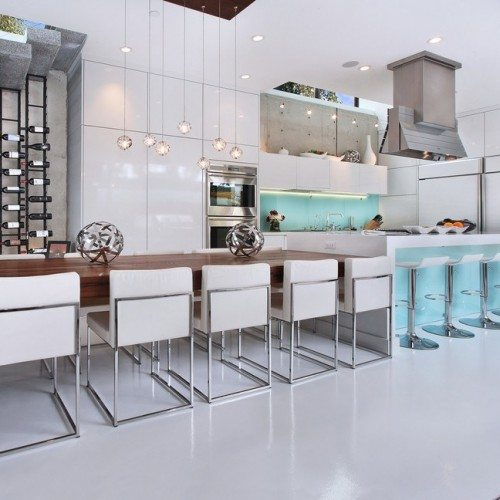 Back Painted Glass Cabinet Fronts in Kitchen | Cabinet Glass & Shelves Gallery | Residential Products | Anchor-Ventana Glass