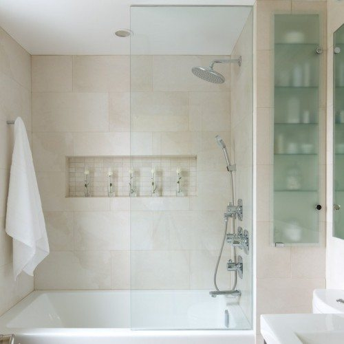 Frameless Fixed Panel Half Enclosure; Saten Glass Cabinet Door and Shelves in Bathroom | Cabinet Glass & Shelves Gallery | Residential Products | Anchor-Ventana Glass