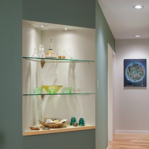 Glass Shelves in Hallway Nitch | Cabinet Glass & Shelves Gallery | Residential Products | Anchor-Ventana Glass
