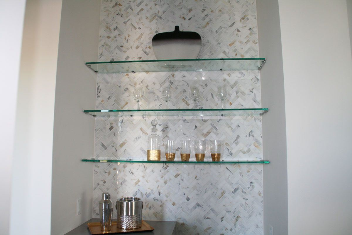 Interior Floating Glass Shelves In Nook | Cabinet Glass U0026 Shelves Gallery |  Residential Products |