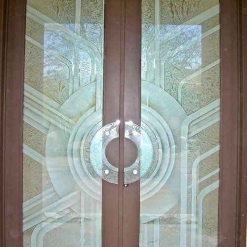 DecoTherm Glass French Doors at Entry | Colored Glass Gallery | Residential Products | Anchor-Ventana Glass
