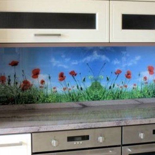 Custom Digitally Printed Glass Backsplash in Kitchen | Colored Glass Gallery | Residential Products | Anchor-Ventana Glass