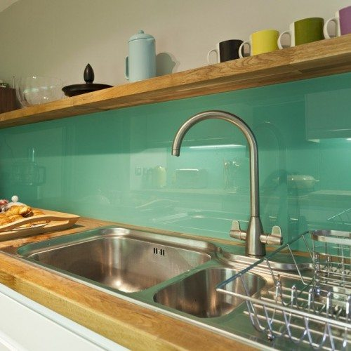 Teal Back Painted Glass Backsplash in Kitchen | Colored Glass Gallery | Residential Products | Anchor-Ventana Glass