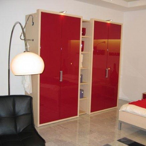 Red Back Painted Glass Used For Doors on Cabinets | Colored Glass Gallery | Residential Products | Anchor-Ventana Glass