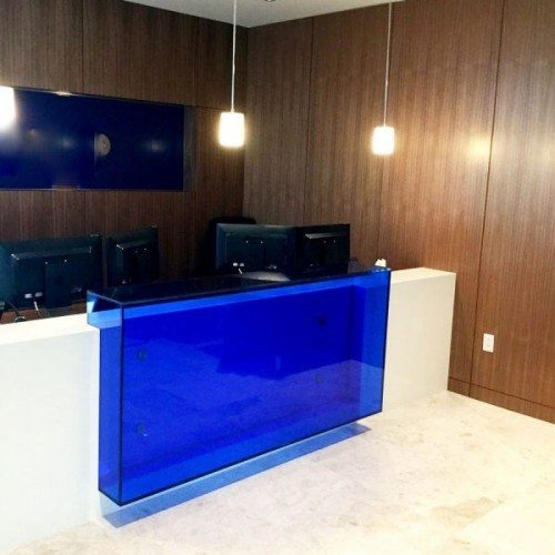 Blue Back Painted Glass in Interior Building | Colored Glass Gallery | Residential Products | Anchor-Ventana Glass