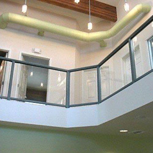 Glass Handrail in Modern Industrial Space   Commercial Glass Handrails   Commercial Products   Anchor-Ventana Glass