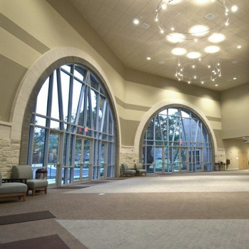 Interior View of Custom Curtain Wall System & Storefront Entrance Doors   Grace Covenant Church   Commercial Projects   Anchor-Ventana