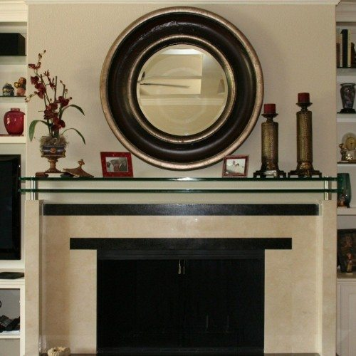 Double Glass Mantle Set with Standoffs and Clamps in Living Room; Custom Framed Mirror | Glass Countertops / Table Tops Gallery | Residential Products | Anchor-Ventana Glass