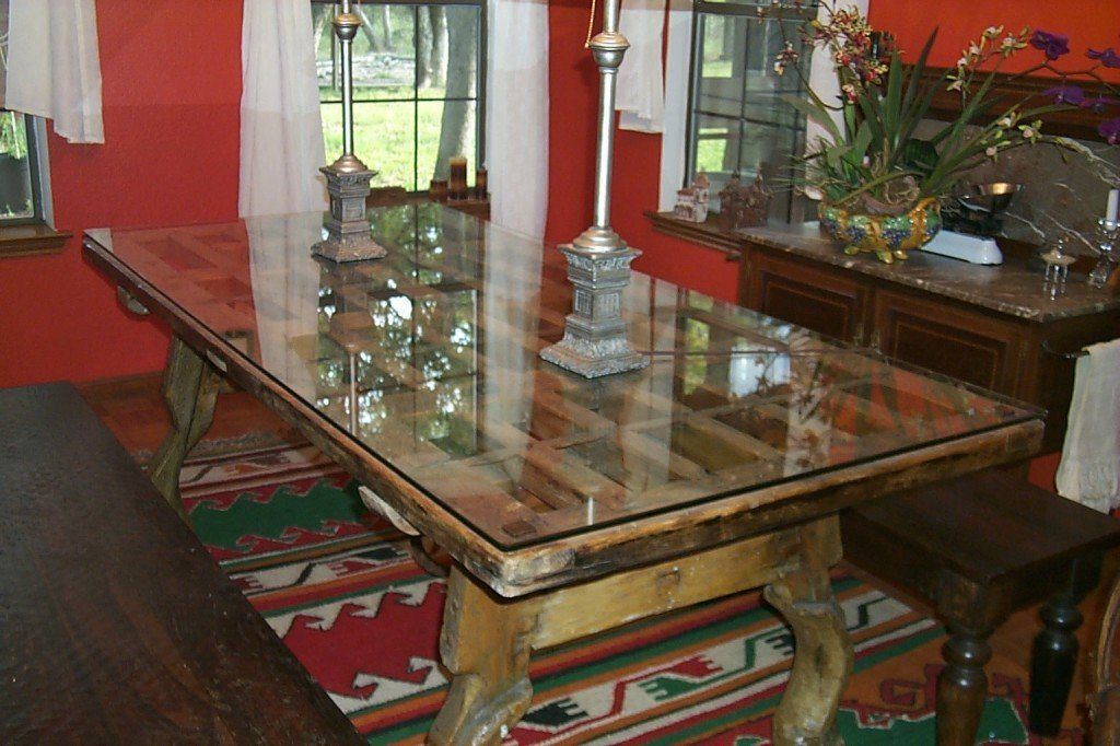 Clear Gl Top To Protect Dining Room Table Made From Re Purposed Antique Door