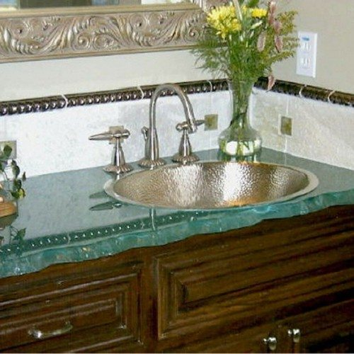 Barked Edge Glass Vanity Counter Top in Bathroom | Glass Countertops / Table Tops Gallery | Residential Products | Anchor-Ventana Glass
