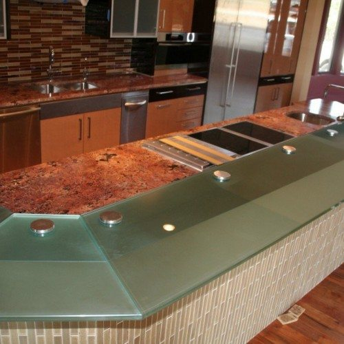 Glass Counter Top Set with Standoff Bases and Caps at Kitchen Bar | Glass Countertops / Table Tops Gallery | Residential Products | Anchor-Ventana Glass