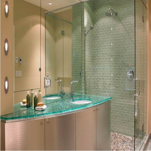 Glass Counter Top in Bathroom | Glass Countertops / Table Tops Gallery | Residential Products | Anchor-Ventana Glass