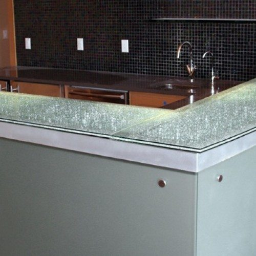 Krackle Glass Counter Top with Saten Glass Front Secured with Caps at Bar in Kitchen | Glass Countertops / Table Tops Gallery | Residential Products | Anchor-Ventana Glass
