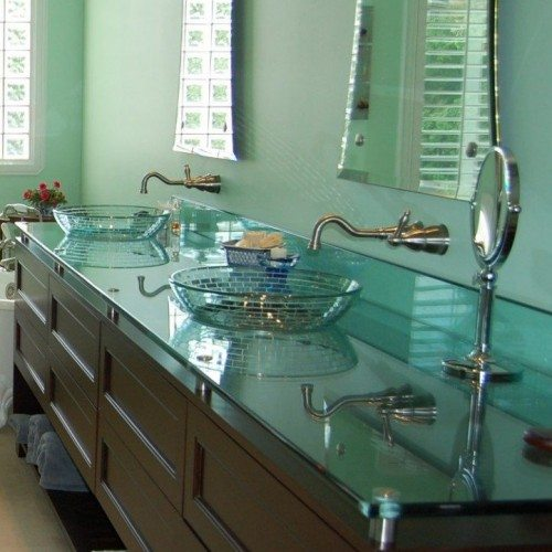 Glass Vanity Countertop Set with Standoff Bases and Caps at Bathroom | Glass Countertops / Table Tops Gallery | Residential Products | Anchor-Ventana Glass