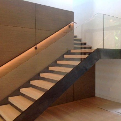 Interior Glass Handrail System on Staircase | Glass Handrail Systems | Residential Gallery | Anchor-Ventana Glass