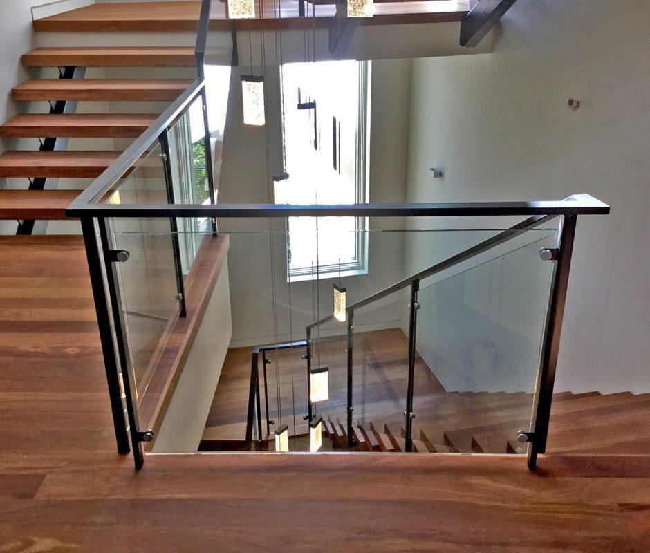 Interior Gl Handrail System On Winding Staircase