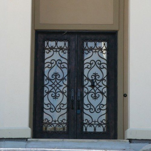 Glass Set in Wrought Iron Entry Doors & Transom | Glass Wall Systems Gallery | Residential Products | Anchor-Ventana Glass