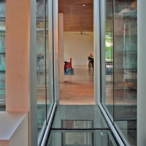 Glass Floor & Walls at Entry | Glass Wall Systems Gallery | Residential Products | Anchor-Ventana Glass