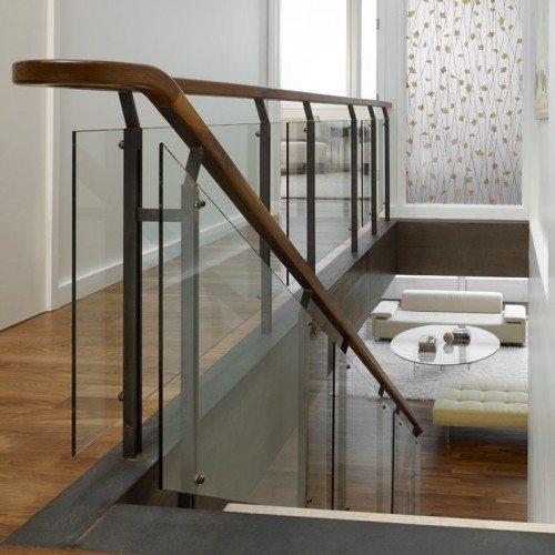 3-Form Leaf EcoResin Panel and Glass Handrail set with Standoff Caps in Stairway | Glass Wall Systems Gallery | Residential Products | Anchor-Ventana Glass