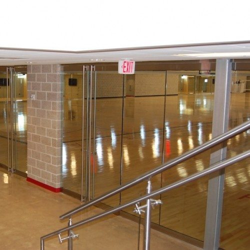 Interior View of Glass Wall System & Glass Handrails | Round Rock Sports Center | Commercial Projects | Anchor-Ventana