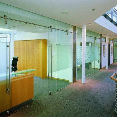 Dorma Manet Sliding Glass Doors | Glass Wall Systems Gallery | Interior Glass Products | Anchor-Ventana Glass