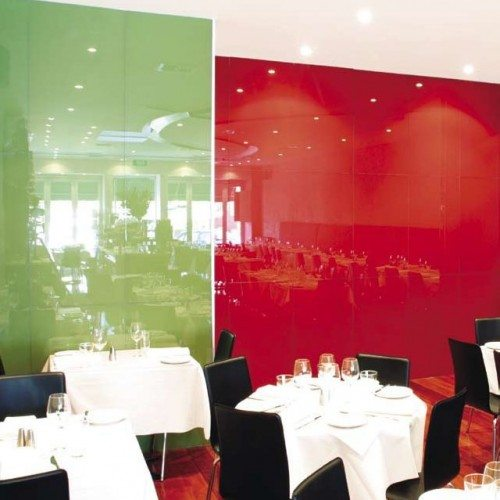 Green and Red Back Painted Glass Wall Partitions | Glass Wall Systems Gallery | Interior Glass Products | Anchor-Ventana Glass