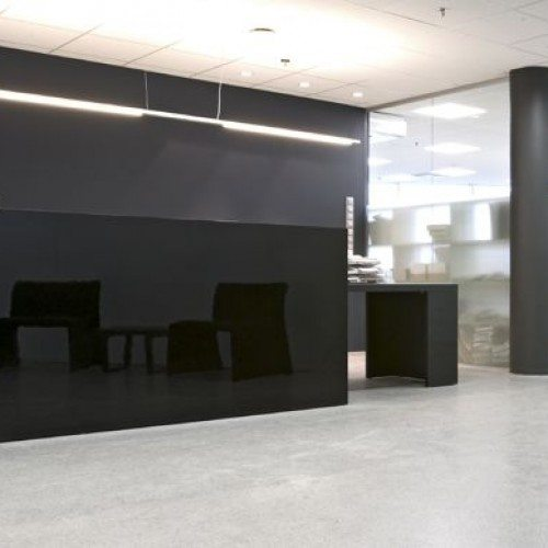 Black Glass in Modern Office Reception Area | Glass Wall Systems Gallery | Interior Glass Products | Anchor-Ventana Glass