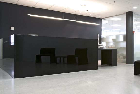 Captivating Black Glass In Modern Office Reception Area   Glass Wall Systems Gallery    Interior Glass Products