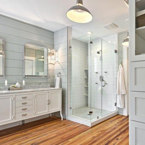 Frameless Corner Shower, Clear Cabinet Glass and Framed Mirror | Mirrors Gallery | Anchor-Ventana Glass