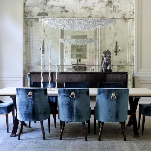 Antique Mirror Wall with Rosettes in Dining Room | Mirrors Gallery | Anchor-Ventana Glass