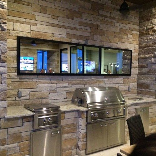Framed Mirror on Covered Patio | Mirrors Gallery | Anchor-Ventana Glass