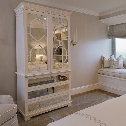 Antique Mirror on Front of Wardrobe in Bedroom | Mirrors Gallery | Anchor-Ventana Glass