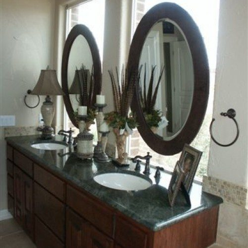 Framed Oval Mirrors Set on Windows with Drilled Standoffs in Bathroom | Mirrors Gallery | Anchor-Ventana Glass