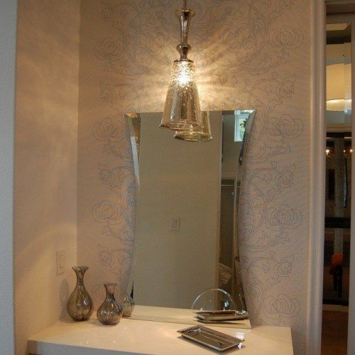 Hour Glass Beveled Mirror Leaning on Counter Top at Make-up Area in Bathroom | Mirrors Gallery | Anchor-Ventana Glass