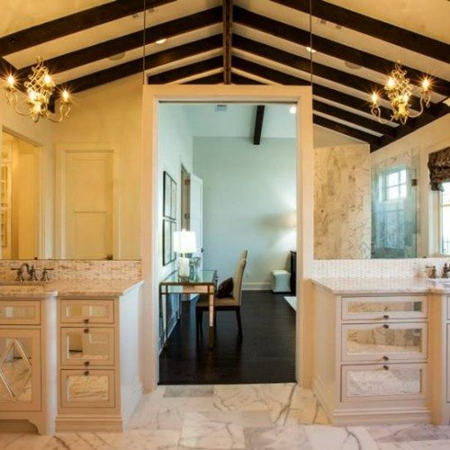 Vanities with Frameless Antique Mirrors in Cabinet Fronts and Mirrors Above in Bathroom | Mirrors Gallery | Anchor-Ventana Glass